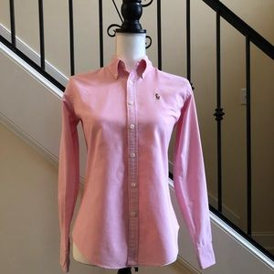 Pink Ralph Lauren Polo Button Down Shirt Size 0